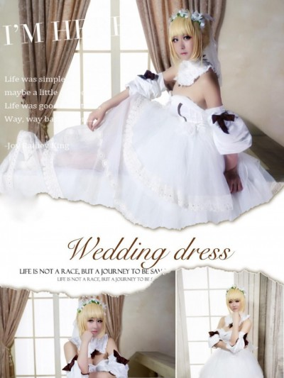 《Fate Stay Night 》Saber lily 同人婚纱 Cosplay